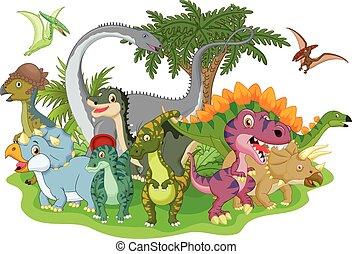 Dinosaurio, grupo, caricatura
