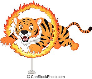Cartoon tiger jumps through ring of - Vector illustration of...