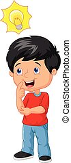 Little boy cartoon with big idea - Vector illustration of...