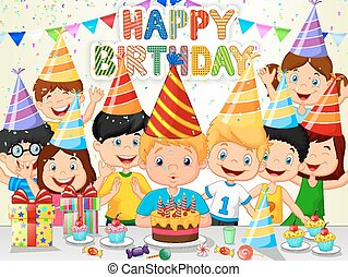Happy boy cartoon blowing birthday - Vector illustration of...