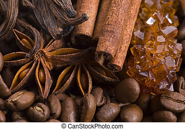 aroma coffe. ingredients. coffe beens, anise, vanilla, cinnamon, sugar