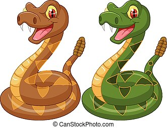 Cartoon rattle snake - Vector illustration of Cartoon rattle...