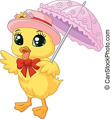 Cute cartoon duck with pink umbrell - Vector illustration of...