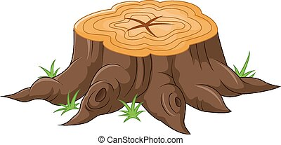 Cartoon tree stump - Vector illustration of Cartoon tree...