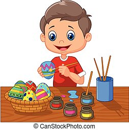 Cartoon boy painting Easter eggs
