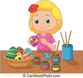 Cartoon girl painting Easter eggs