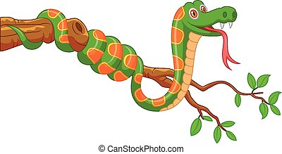 Cartoon green snake on branch - Vector illustration of...
