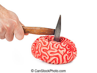 Human brain rubber with hammer blow and blood spill isolated...