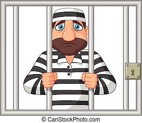 Cartoon Prisoner behind bar - Vector illustration of Cartoon...