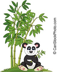 Cartoon panda sitting and eating ba - Vector illustration of...