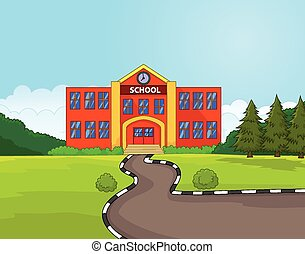 Cartoon school building - Vector illustration of Cartoon...
