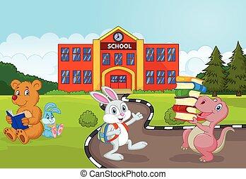 Happy animal cartoon going to schoo