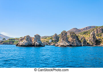 Zingaro National Park, Sicily, Italy - bay with azure water...