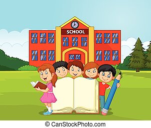 Cartoon kids with book and pencil - Vector illustration of...