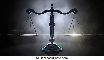 Scales Of Justice - An gold justice scale backlight an an...