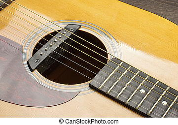 Acoustic guitar sound hole with ros - Musical instrument six...