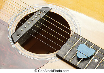 Guitar sound hole and blue guitar p - Musical instrument six...