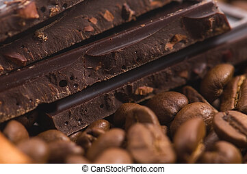 aroma coffe. ingredients. coffe beens, chocolate