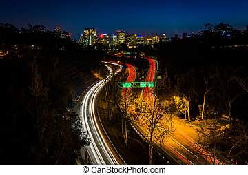 California Route 163 and the San Diego Skyline at night,...