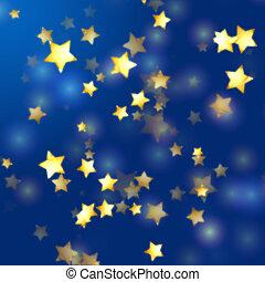 golden stars in blue - golden yellow stars over blue...