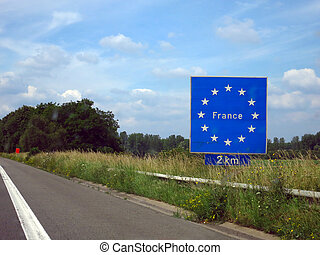 "France - Sign on the highway from Belgium to France ""France..."