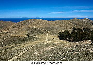 Isla del Sol Island of the Sun in Lake Titicaca, Bolivia -...