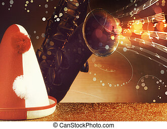 Party Hat And Saxophone with musical Notes Effects