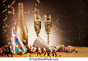 Festivity Concept - Party Hat, Wines and Streamers -...