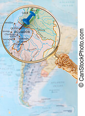 Looking in on Quito Ecuador, South America - Blue tack on...