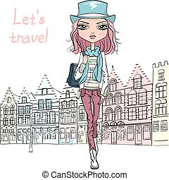 Vector beautiful fashion girl in Bruges - Fashionable...