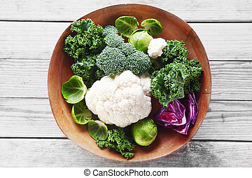 Fresh Broccoli, Cauliflower and Cabbage on Bowl - Close up...