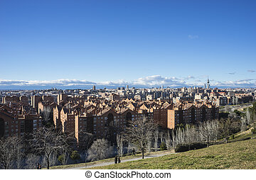 Madrid skyline, views from Tio Pio Park