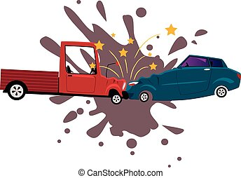 Road collision - Pick-up truck collided with a sport sedan,...