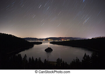 Long Exposure Night Sky Emerald Bay Fannette Island Lake...