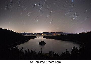 Long Exposure Night Sky Emerald Bay Fannette Island Lake...