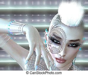 Dragon tattoo girl, mohawk. - Dragon tattoo sci fi girl with...