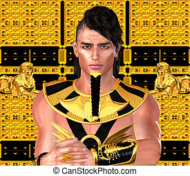 Egyptian Pharaoh, digital art - Pharaoh in Egyptian modern...