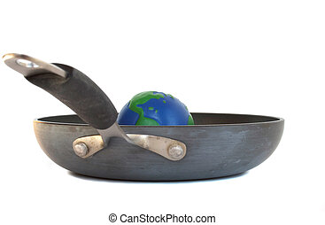 Global Warming - Earth in a Frying Pan - Earth sits in a...