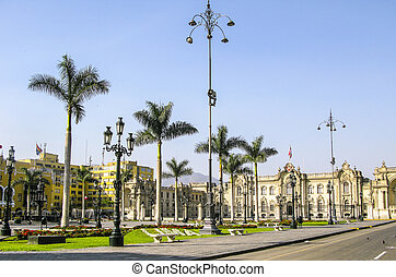 Government palace at Plaza de Armas in Lima, Peru