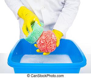 Brainwashing - Metaphor of brainwashing, doctor washes the...