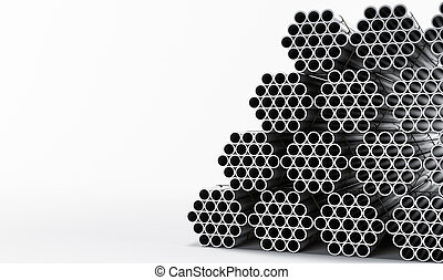Stainless steel pipes isolated on white background. High...