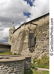 Wall of ancient fortress - Wall of ancient Pskov kremlin in...