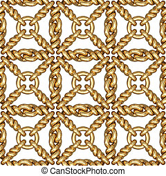 Seamless pattern of gold wire mesh or fence on white...
