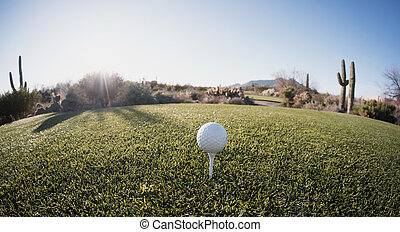 Tee off - golf ball - extreme wide angle view from from...
