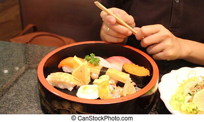 Holding Sushi By Disposable Chopsticks, Stock Video