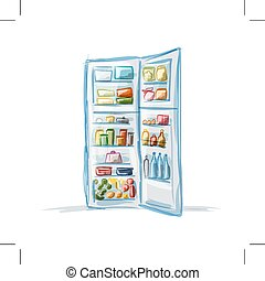 Opened fridge full of food, sketch for your design. Vector...