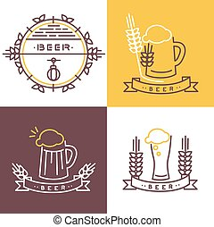 Vector beer icon and banner - line icons and design elements...