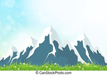 Green Landscape Background with Mountains