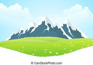 Green Landscape with clouds flowers and mountains