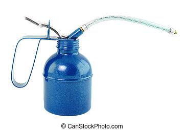 azul, aceite, lata, aislado, en, blanco,